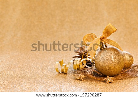 christmas card with golden bauble and copy space   - stock photo