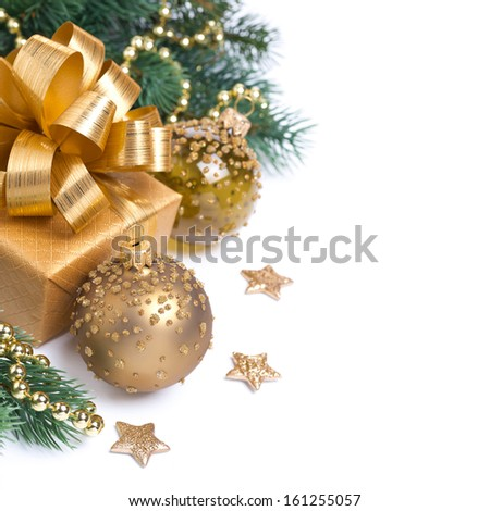 Christmas card with golden gift box and decorations, isolated on white, ready template - stock photo