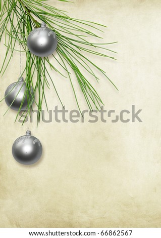 christmas card with green balls - stock photo