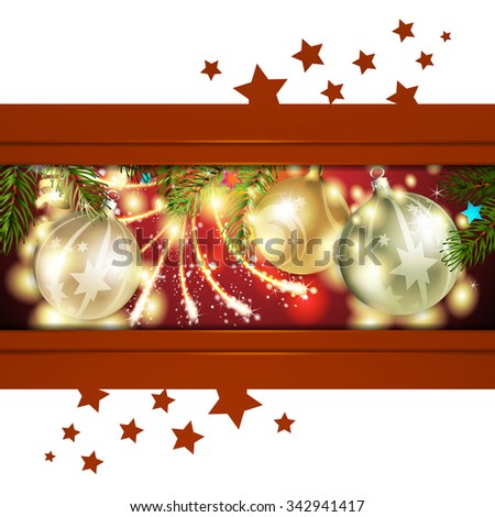 Christmas card with pine tree and ball - stock photo
