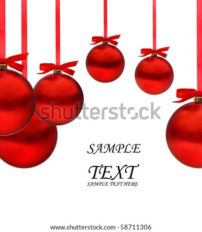 Christmas card with red balls and red ribbons with space for your text - stock photo