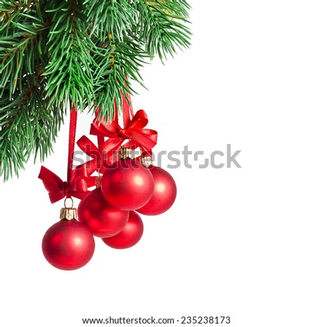 Christmas card with red balls isolated on white - stock photo