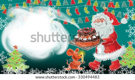 Christmas card with Santa and mouse - stock photo