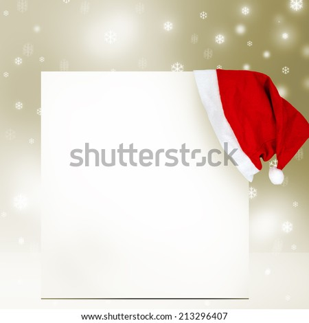 Christmas card with Santa Claus hat - stock photo