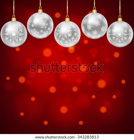 Christmas card with silver balls with snowflakes ornament - stock photo