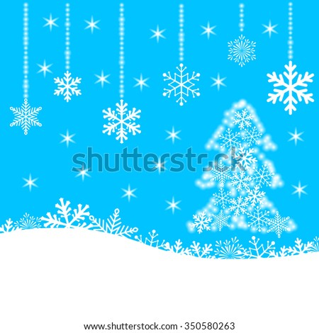 Christmas card with snowflakes and fir-tree on blue background for your design. Winter card Merry Christmas, New Year and Happy Holiday. - stock photo