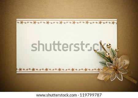 Christmas card with space and christmas ornament - stock photo