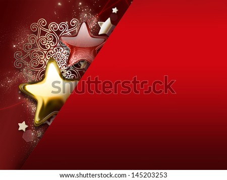 Christmas card with stars and snowflakes - stock photo