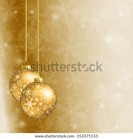 Christmas card with two gold balls and snowflakes on golden background. Raster version. - stock photo