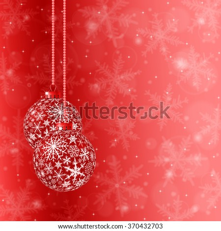 Christmas card with two rede balls and snowflakes on light background. Raster version. - stock photo
