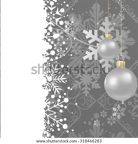 Christmas Card. Xmas Wallpaper. Christmas Background. Christmas Decoration Ideas.  Grey color. Christmas wallpaper. Christmas ornaments. Christmas day - stock photo