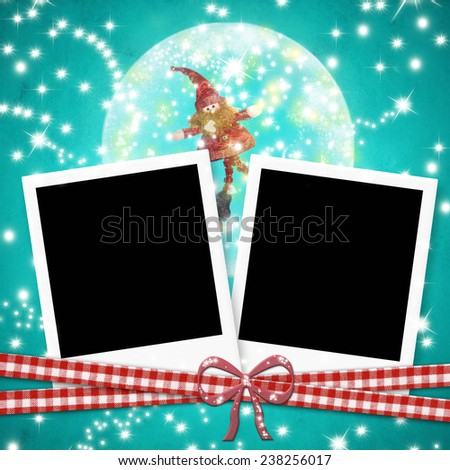 Christmas cards photo frames, two instant photo frames and cute elf within a ball  on blue  paper background - stock photo