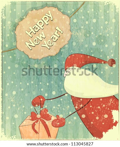 Christmas cards with Santa - New Year postcard in Retro style - JPEG version - stock photo