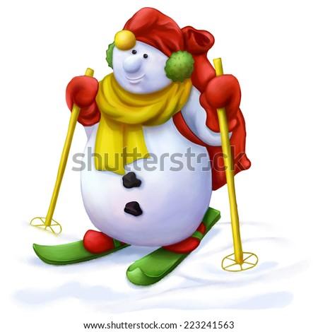 Christmas cartoon character, skiing snowman - stock photo
