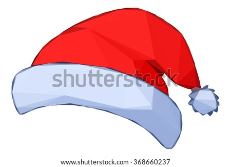 Christmas Cartoon, Santa Claus Red Hat Isolated on White Background.  - stock photo
