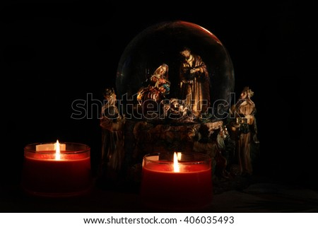 christmas cene - stock photo
