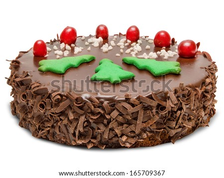 Christmas chocolate cake  isolated on white background - stock photo