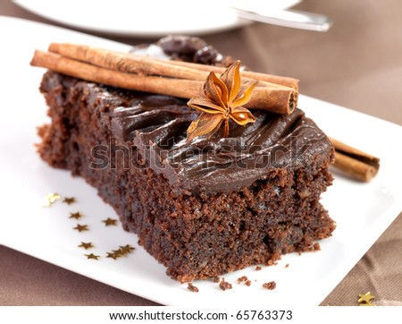 christmas chocolate cake with decoration - stock photo