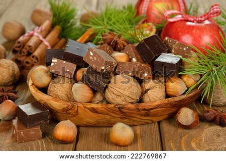 Christmas chocolate fudge on brown background - stock photo