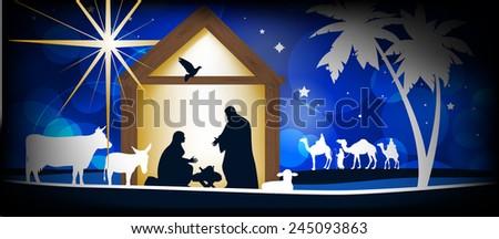 Christmas Christian nativity scene, three wise men or kings, farm animals and star of Bethlehem  - stock photo