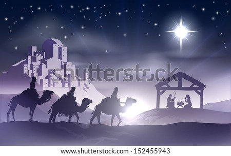 Christmas Christian nativity scene with baby Jesus in the manger in silhouette, three wise men or kings and star of Bethlehem with the city of Bethlehem in the distance - stock photo