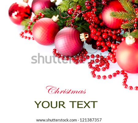 Christmas. Christmas and New Year Baubles and Decorations isolated on White Background.Holiday Border Design Composition. Red Colour - stock photo