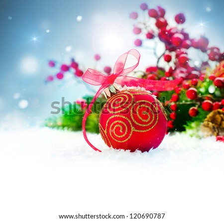 Christmas. Christmas Holiday Background with Red Bauble, Ribbon, Snow and Snowflakes - stock photo