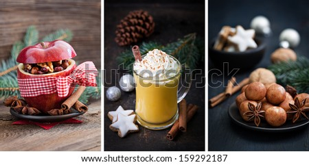 christmas collage with eggnog and baked apple   - stock photo