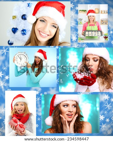 Christmas collage. Young happy girls - stock photo