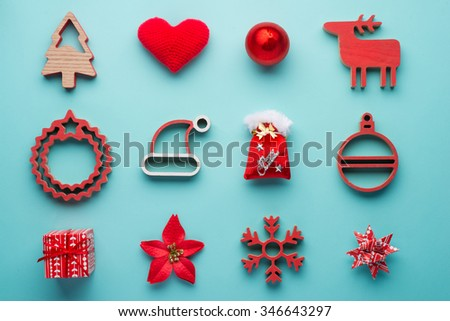 Christmas collection, gifts and decorative ornaments, on blue background. photographic montage. View from above - stock photo