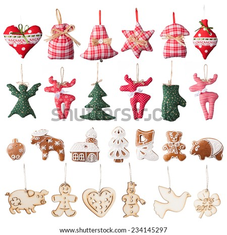 Christmas collection of isolated traditional decorations on white background - stock photo