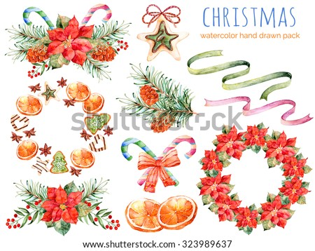 Christmas collection:wreaths,poinsettia,bouquets,orange,pine cone,ribbons,christmas cakes.You can create own patterns,greeting cards,invitations,party design,decorate blog,anything on theme Christmas - stock photo
