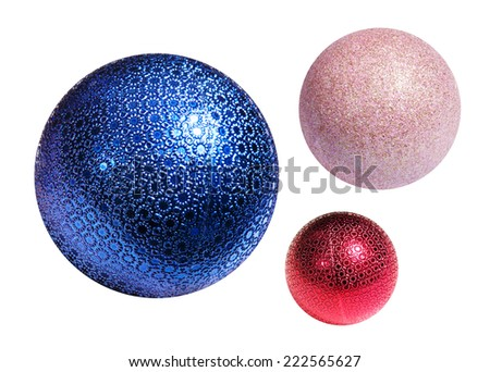 Christmas color spheres with path on white background - stock photo