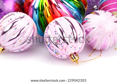 Christmas colorful balls on white background. - stock photo