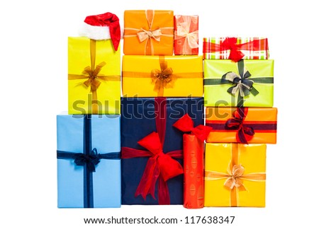 Christmas colorful gift boxes with ribbon, isolated on white background. - stock photo