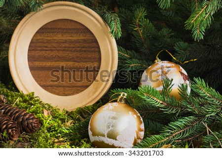 Christmas composition and decoration . Selective focus - stock photo