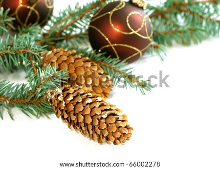 Christmas composition on white - stock photo