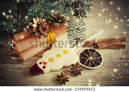 christmas composition on wooden background/ Christmas card with christmas rustic decorations - stock photo