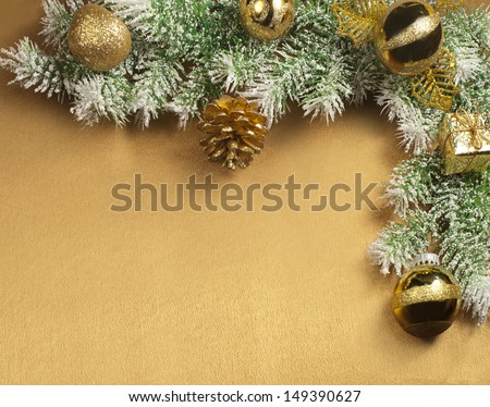 Christmas composition on yellow satin for greeting card  - stock photo