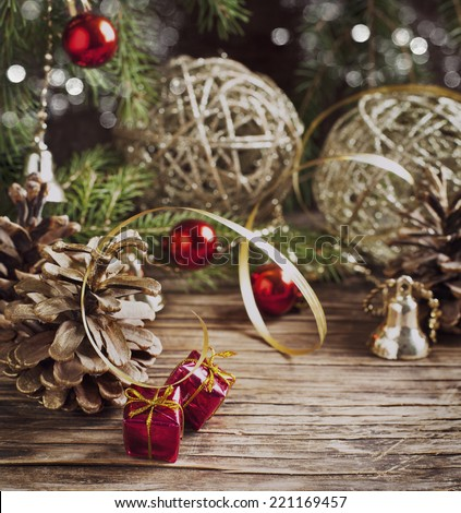 Christmas composition. Toned image - stock photo