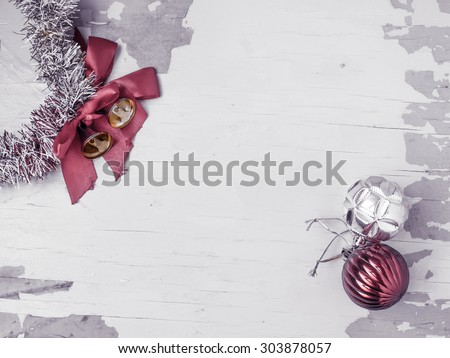 Christmas composition with bells and balls - stock photo