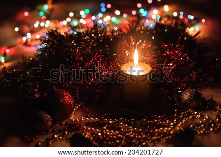 Christmas composition with candle and decorations. New Year Celebration - stock photo