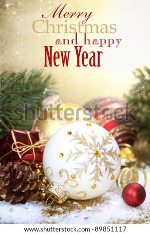 Christmas composition with christmas balls - stock photo