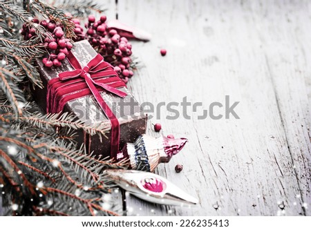 Christmas composition with christmas decoration ,present gift box in vintage style - stock photo