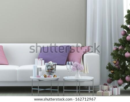 christmas composition with christmas tree - stock photo