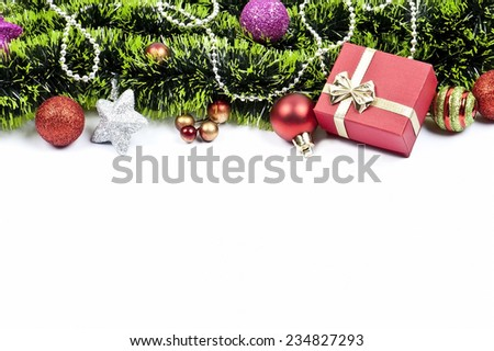 Christmas composition with colored balls, green tinsel. festive arrangement with place for your text  - stock photo