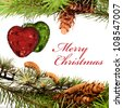 Christmas composition with hearts and sample text - stock photo