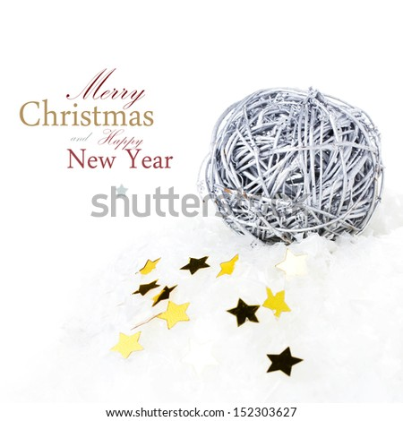 Christmas composition with snow ball  and golden stars isolated on white background  (with easy removable sample text) - stock photo