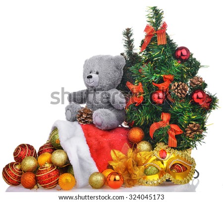 Christmas composition with teddy bear tree and santa bag isolated over white background - stock photo