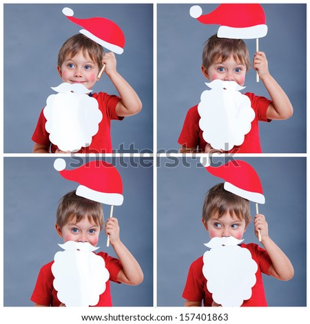 Christmas concept. Collage of images smiling funny boy in Santa red hat in studio. - stock photo